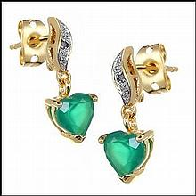 Emerald, Diamond Earrings w/ Heart Drop