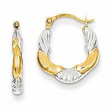 14K Gold, Rhodium Hoop Earrings, Scalloped.