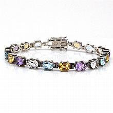 Sterling Silver Multi Gemstone Tennis Bracelet