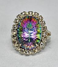Stunning Mystic Topaz & Rose Cut Diamond Ring