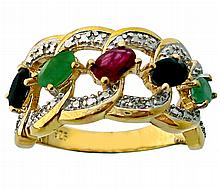 Green Emerald, Sapphire Gold over Silver Ring