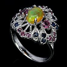 Rainbow Fire Opal, Rhodalite Garnet, Sapphire Ring