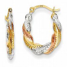 Tri-Color 14K Gold, Rhodium Hoop Earrings.