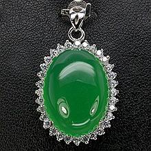 Green Aventurine, White CZ Oval Pendant