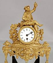 French Figural Spelter Mantel Clock, Hunting scene