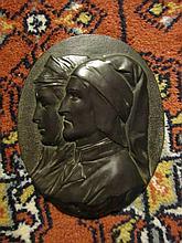 Bronze Plaque Depicting a Renaissance Couple.