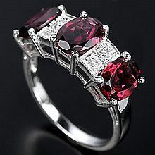 Rhodolite Garnet & White Sapphire Ring