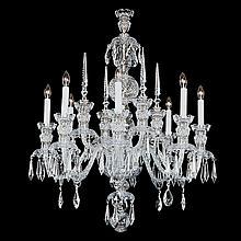 8-light Crystal, Silvertone Chandeler,