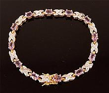 Gold Plated Sterling, Amethyst Tennis Bracelet