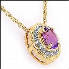 Purple Amethyst, Diamond Pendant Necklace