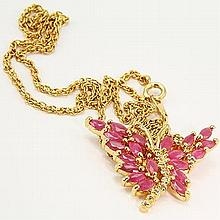 Ruby, Diamond Butterfly Pendant Necklace