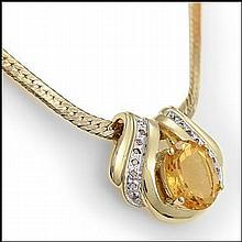 Citrine, Diamond Pendant Necklace