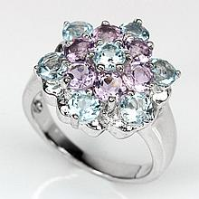 Purple Amethyst, Blue Topaz Silver Flower Ring