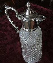 Vintage Cut Crystal, Diamond Pressed Glass Pitcher