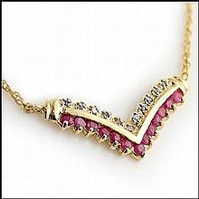 Ruby, Diamond Chevron Necklace