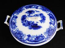 VICTORIAN Flow Blue Shanghai Covered Bowl