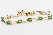 Emerald, Yellow Goldplate Bracelet.