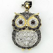 Owl Pendant with Champagne, White CZ