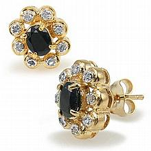 Black Sapphire, Diamond Earrings