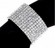 Multi-strand Crystal Rhinestone Stretch Bangle.