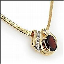 Garnet, Diamond Pendant Necklace