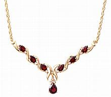 Garnet, Diamond Drop Necklace