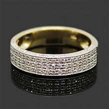 Solid 14k Yellow Gold, Diamond Wedding Band
