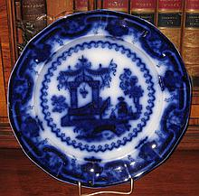 Rare 1845 T.J. & J. Mayer Flow Blue Oregon Plate