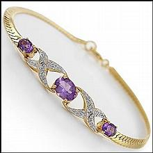 Purple Amethyst, Diamond Bracelet