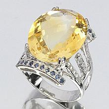 Yellow Citrine, Sapphire Silver Ring