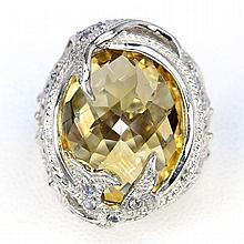 Yellow Citrine, Blue Tanzanite Ring