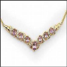 Purple Amethyst, Diamond Chevron Necklace