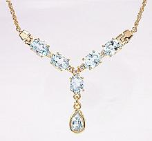 Blue Topaz, Diamond Tear Drop Necklace