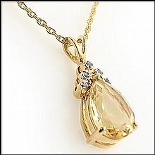Oval Citrine, Diamond Pendant Necklace
