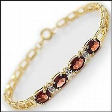 Oval Garnet, Diamond Bracelet