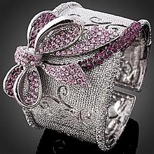 Beautiful Pink Bow Crystal Bangle / Cuff Bracelet