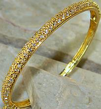 White Topaz Bracelet w/ Yellow Gold, Silver