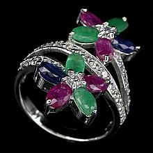 Mixed Gemstone Flower Ring