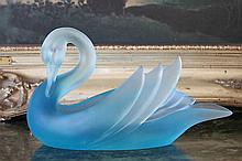 Lalique Inspired Crystal Swan Bowl / Dish