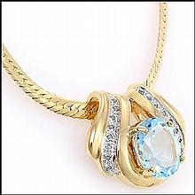Blue Topaz, Diamond Pendant Necklace