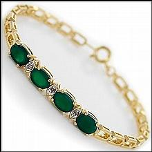Green Emerald, Diamond Bracelet