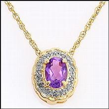 Amethyst, Diamond 18k Necklace