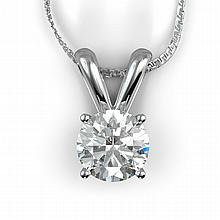 14k White Gold Necklace Round Diamond 1.6ct