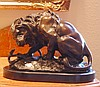 Fighting Lion and Serpent Bronze Sculpture