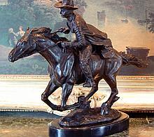 Commanding Bronze Sculpture Western Cowboy & Horse