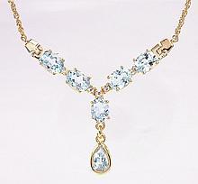 Blue Topaz, Diamond Tear Drop Necklace