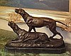 Regal Bronze Sculpture Hunting Dogs