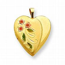 Gold over Sterling Flower Heart Locket