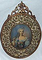 Handpainted Miniature Portrait in Handcarved Frame