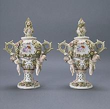 PAIR OF JAPANESE CANDREA S FLORAL PORCELAIN VASES